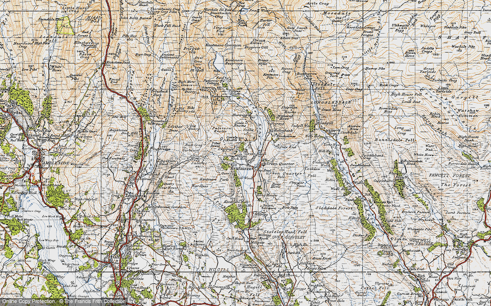 Old Map of Historic Map covering Tongue Ho (ruin) in 1947