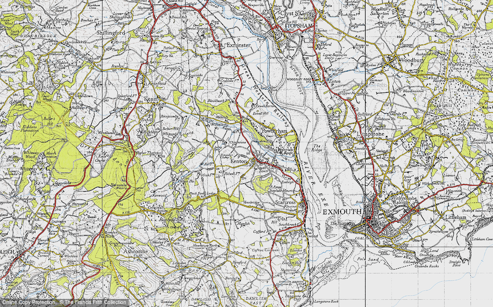 Old Map of Historic Map covering Mamhead Ho in 1946