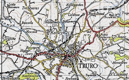 Old map of Kenwyn in 1946