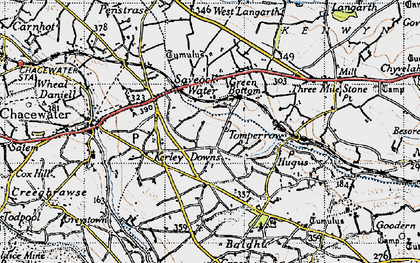 Old map of Kerley Downs in 1946