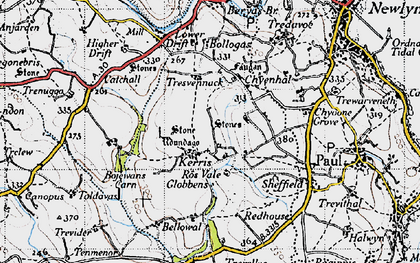 Old map of Kerris in 1946