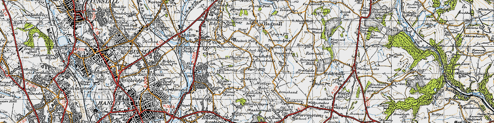 Old map of Wetley Moor in 1946