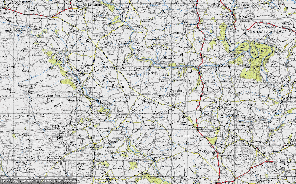 Old Map of Historic Map covering Lanhargy in 1946