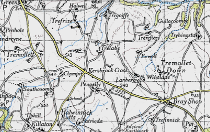 Old map of Kersbrook Cross in 1946