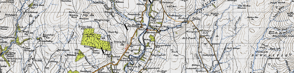 Old map of Tinnis Burn in 1947