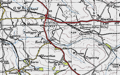 Old map of Kestle Mill in 1946