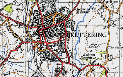 Old map of Kettering in 1946