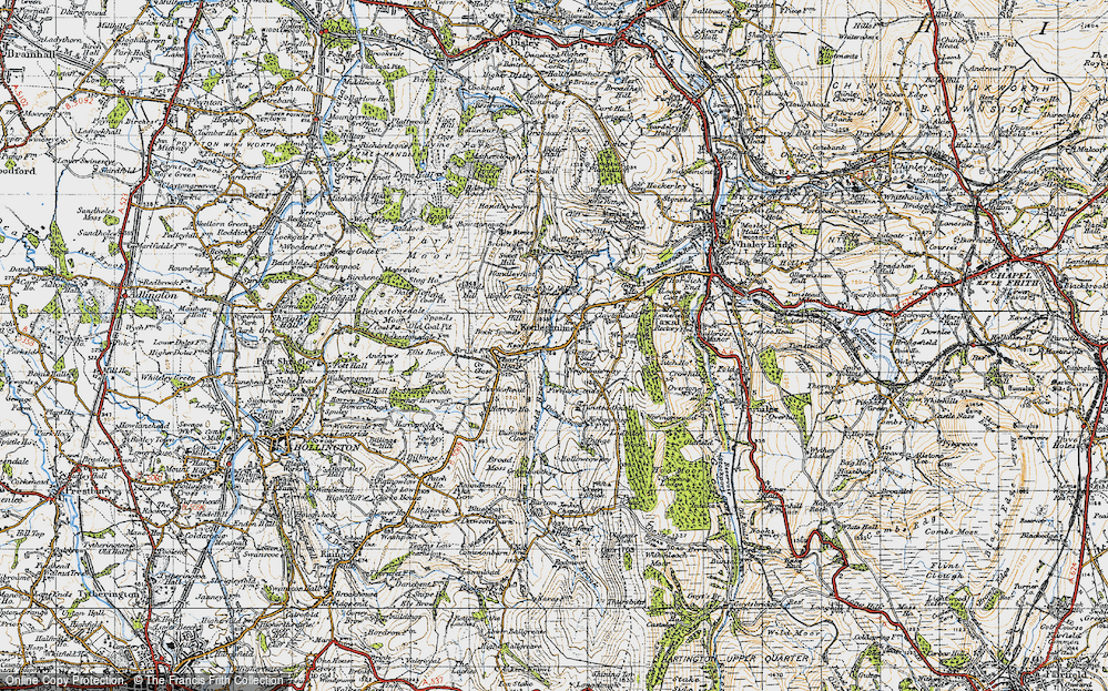 Old Map of Historic Map covering Todd Brook in 1947