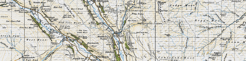 Old map of Whernside Pasture in 1947