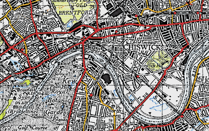 Old map of Kew in 1945