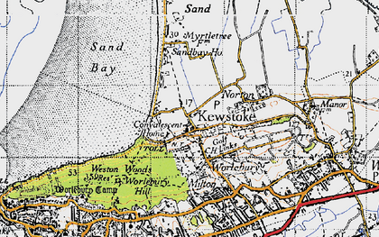 Old map of Kewstoke in 1946
