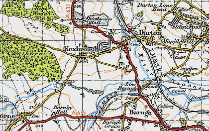 Old map of Kexbrough in 1947