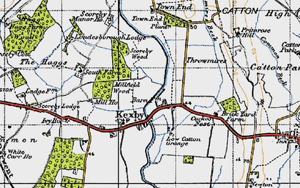 Old map of Kexby in 1947