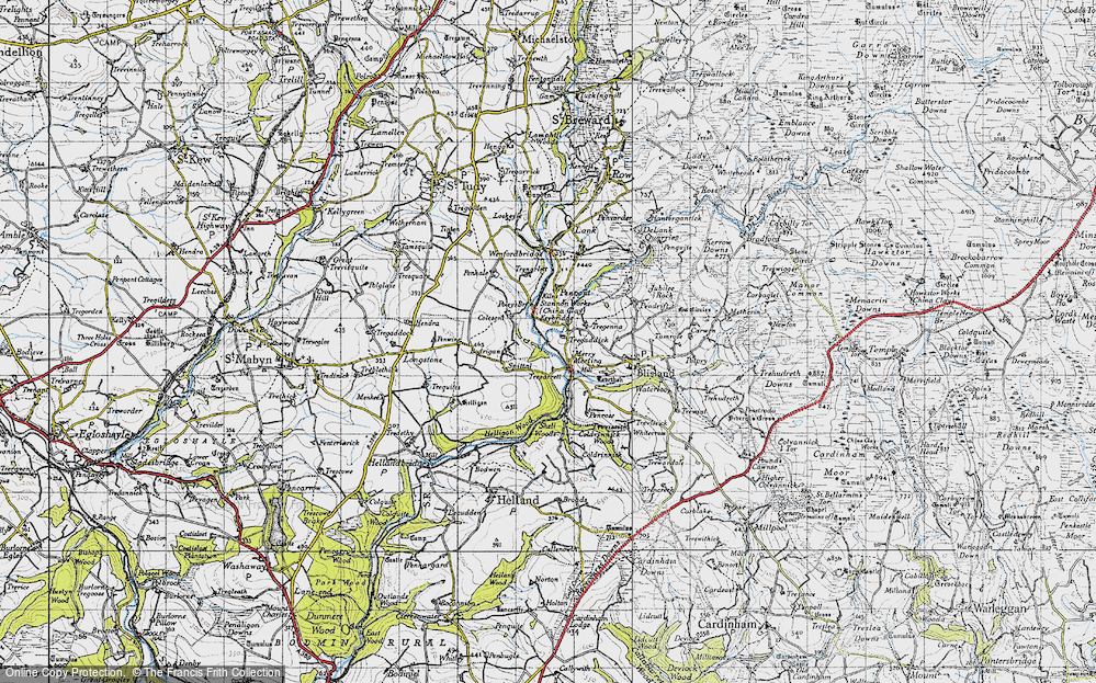 Old Map of Historic Map covering Lavethan in 1946