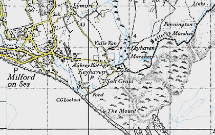 Old map of Aubrey Ho in 1940
