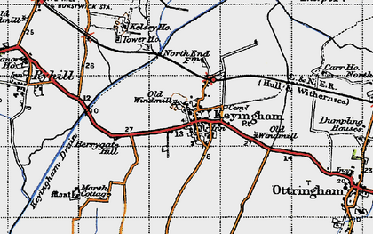 Old map of Keyingham in 1947