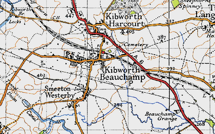 Old map of Kibworth Beauchamp in 1946