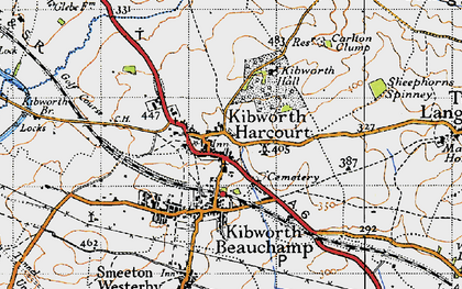 Old map of Kibworth Harcourt in 1946