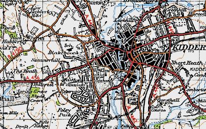 Old map of Kidderminster in 1947