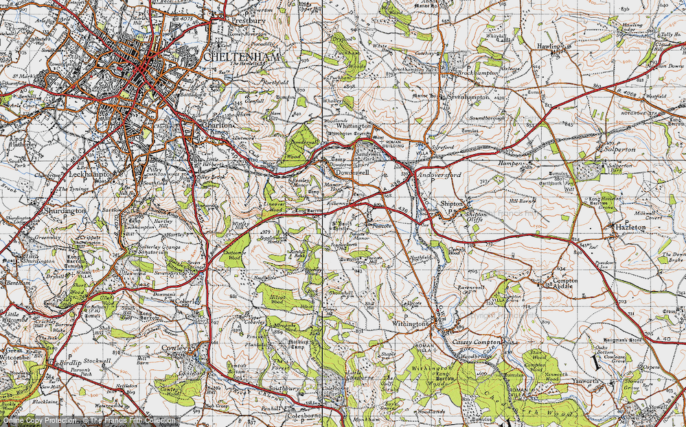 Old Map of Historic Map covering Lineover Wood in 1946