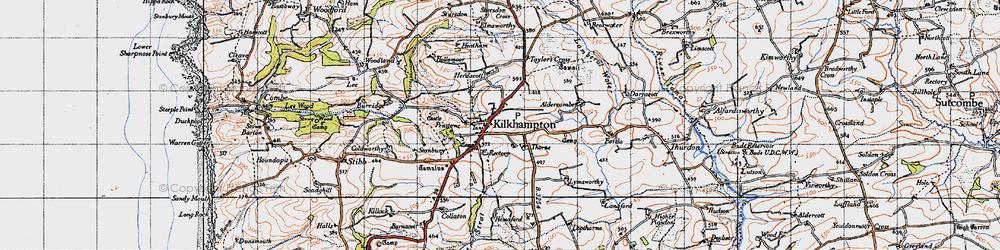 Old map of Kilkhampton in 1946