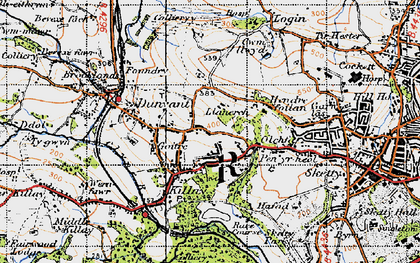Old map of Killay in 1947