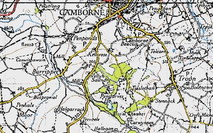 Old map of Killivose in 1946