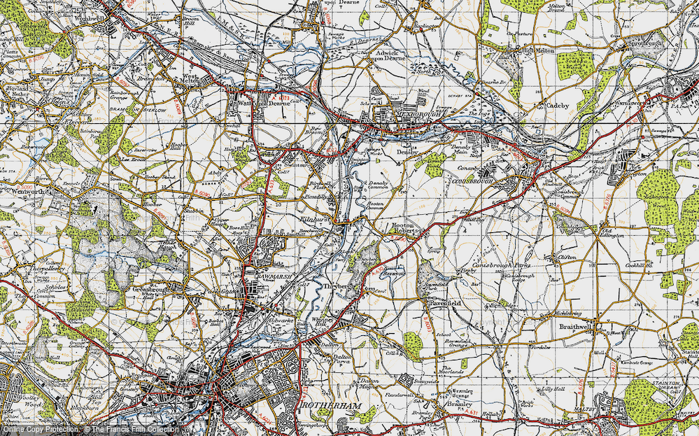 Old Map of Historic Map covering Thybergh Country Park in 1947