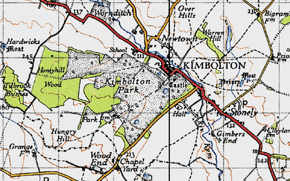 Old map of Kimbolton in 1946