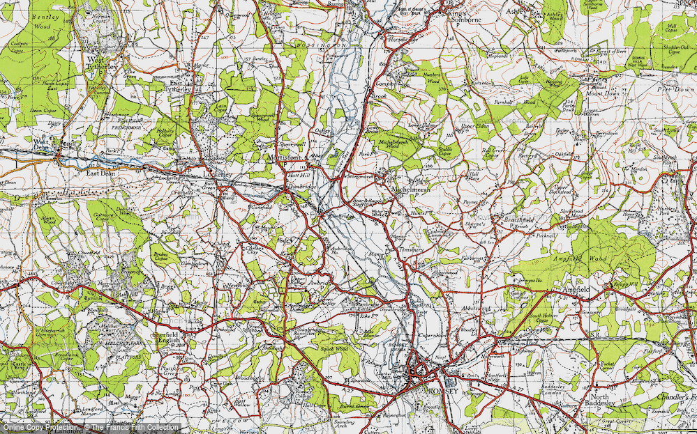 Old Map of Historic Map covering Linhay Meads in 1945