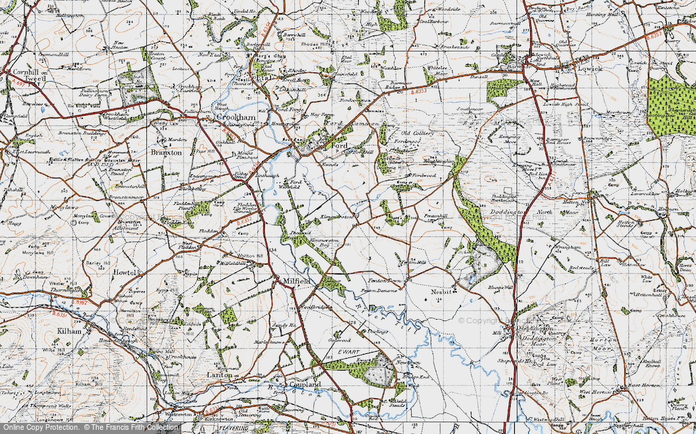 Old Map of Historic Map covering White Hill in 1947