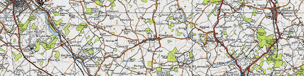 Old map of Kimpton in 1946