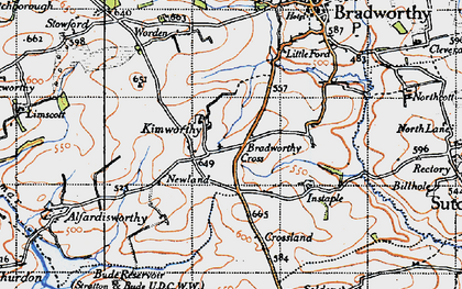 Old map of Wrangworthy in 1946