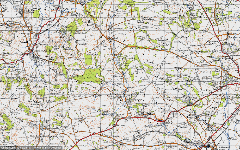Old Map of Historic Map covering Leigh Wood in 1946