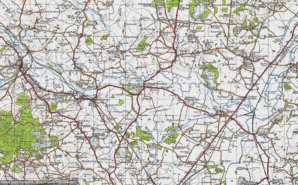 Old Map of Historic Map covering Woodgate in 1946