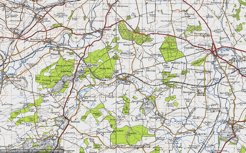 Old Map of Historic Map covering Law's Lawn in 1946