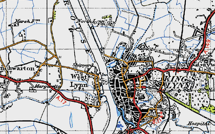 Old map of King's Lynn in 1946