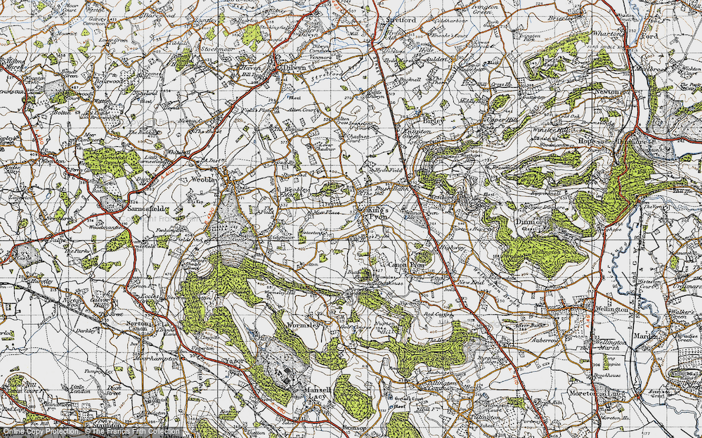 Old Map of Historic Map covering Wootton in 1947
