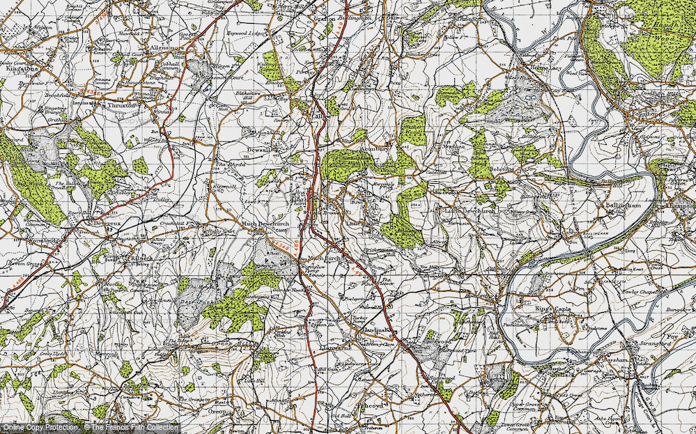 Old Map of Historic Map covering Aconbury Hill in 1947