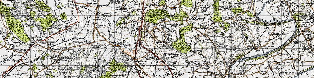 Old map of Aconbury Hill in 1947