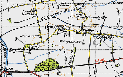 Old map of Young's Wood in 1947