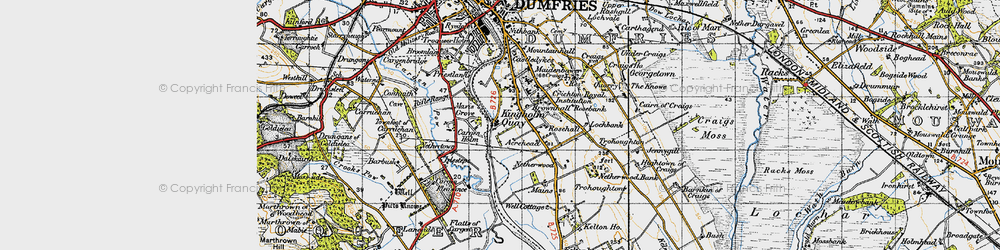 Old map of Acrehead in 1947