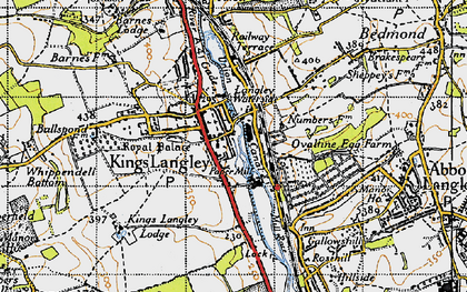 Old map of Kings Langley in 1946