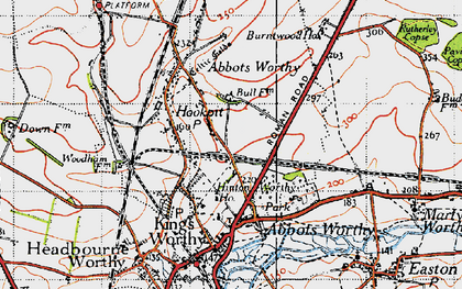 Old map of Kings Worthy in 1945