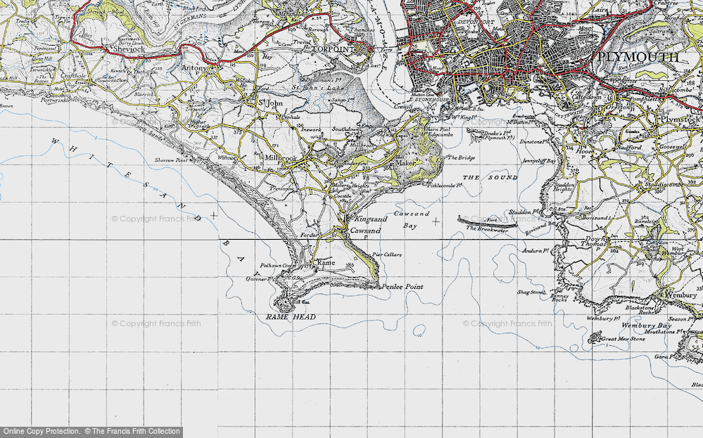 Old Map of Kingsand, 1946 in 1946