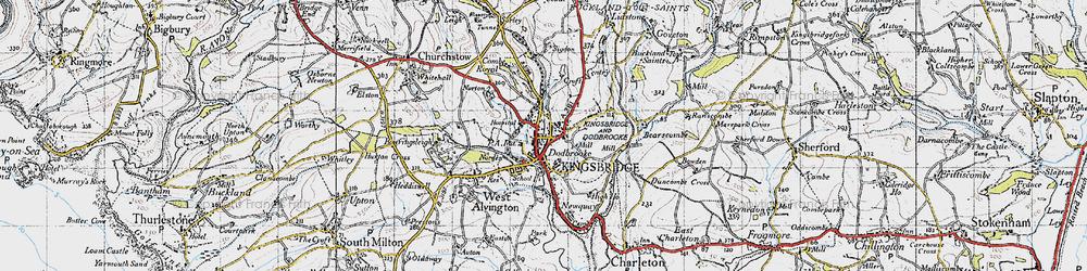 Old map of Kingsbridge in 1946
