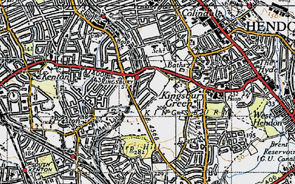 Old map of Kingsbury in 1945