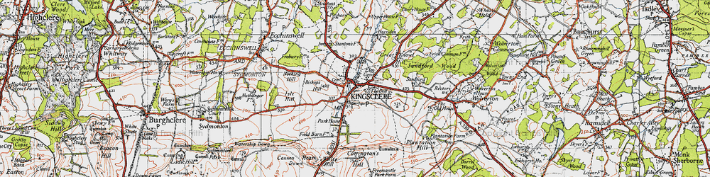 Old map of Kingsclere in 1945