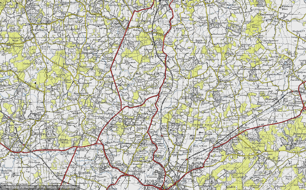 Old Map of Historic Map covering Langhurst in 1940