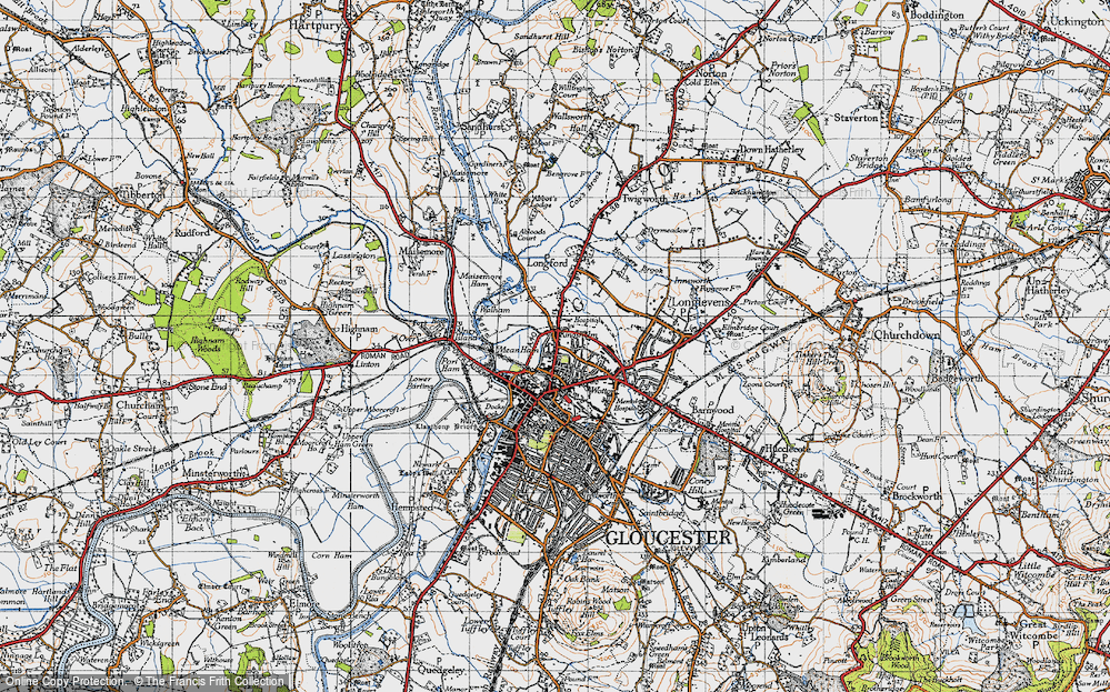 Old Map of Historic Map covering Alney Island in 1947